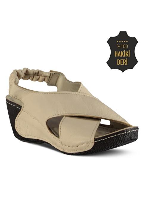 Marjin % 100 Deri Dolgu Topuk Sandalet Bej